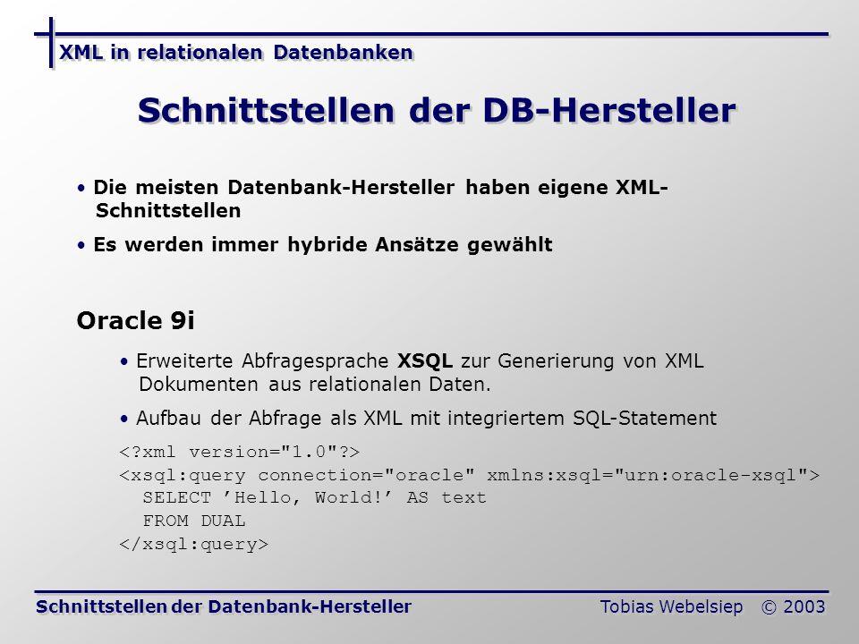XML in relationalen Datenbanken Tobias Webelsiep © 2003 Schnittstellen der DB-Hersteller Schnittstellen der Datenbank-Hersteller Die meisten Datenbank-Hersteller haben eigene XML- Schnittstellen Es werden immer hybride Ansätze gewählt Oracle 9i Erweiterte Abfragesprache XSQL zur Generierung von XML Dokumenten aus relationalen Daten.