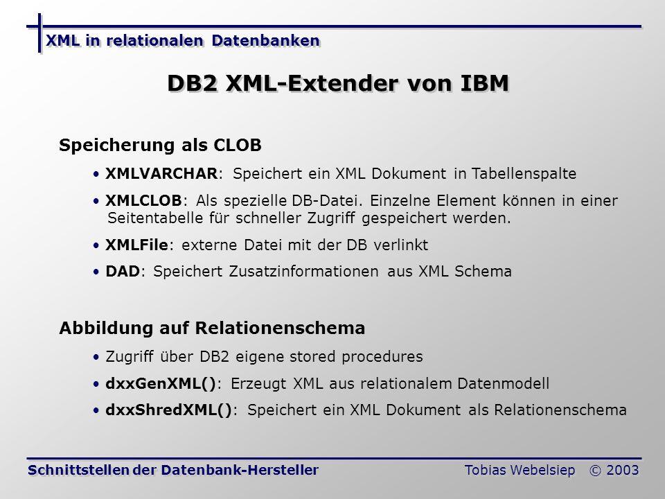 XML in relationalen Datenbanken Tobias Webelsiep © 2003 DB2 XML-Extender von IBM Schnittstellen der Datenbank-Hersteller Speicherung als CLOB XMLVARCHAR: Speichert ein XML Dokument in Tabellenspalte XMLCLOB: Als spezielle DB-Datei.