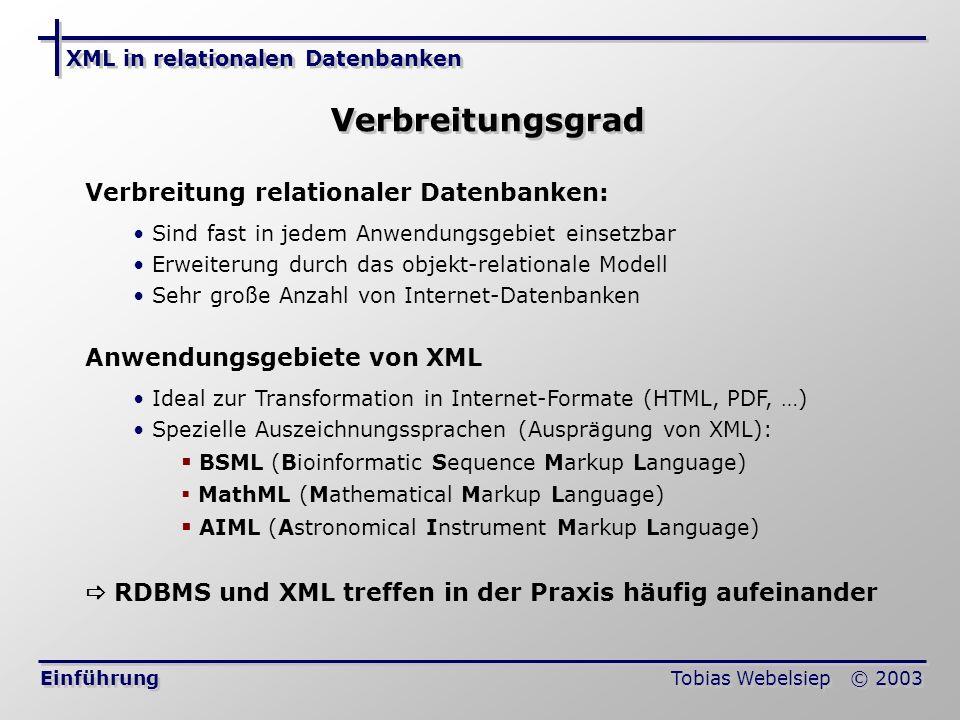 XML in relationalen Datenbanken Tobias Webelsiep © 2003 Speicherverfahren von XML in RDBMS Schwierigkeiten bei der Speicherung Die Baumstruktur ist nicht mit dem relationalen Modell vereinbar Komplexe Strukturen wie Abhängigkeiten, Rekursion und Mehrwertigkeit müssen abgebildet werden Gemischte Inhalte schwer abzuspeichern: Normaler Text Fetter Text Text Für Reihenfolge von Elementen benötigt man Zusatzinformationen Die Unterscheidung von Subelement und Attribut ist schwierig