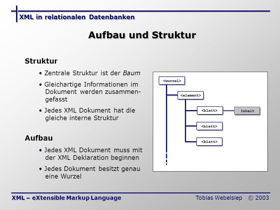 XML in relationalen Datenbanken Tobias Webelsiep © 2003 Abbildung XML auf Relationenschema (1) Speicherverfahren von XML in RDBMS Orientierung von Dokumenten Dokument-Orientiert: Ist auf die Einteilung und Strukturierung der Dokumente ausgerichtet Komplexe Hierarchie und Struktur Daten-Orientiert: Spezialisiert auf den Datenaustausch Flache Hierarchie, einfache Struktur Vorteile Zugriff auf Teile über normale SQL-Abfragen Alle Vorzüge der RDBMS (Views, Indices usw.) nutzbar Elemente eines Typ werden in einer Tabelle verwaltet