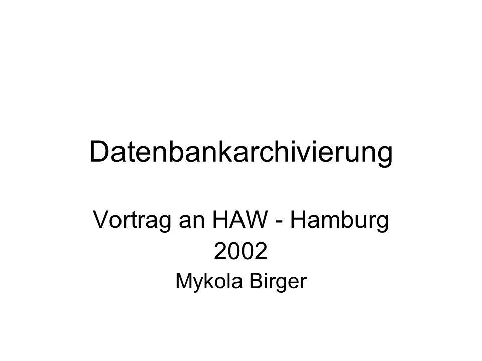 M.Birger Datenbankarchivierung AIS Vortrag 12 Integration von Tertiärspeicher in Datenbanksysteme Partitionierung von Tabellen Vacuuming in temporalen Datenbanken Data Warehousing Temporale Datenbanken Schemaevolution und -versionierung Aktive Datenbanksysteme Grundlagen der Archivierung: Stand der Forschung