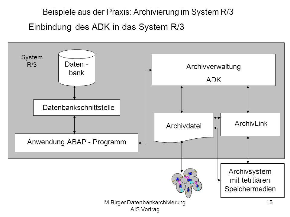 M.Birger Datenbankarchivierung AIS Vortrag 15 Beispiele aus der Praxis: Archivierung im System R/3 Einbindung des ADK in das System R/3 Archivsystem m