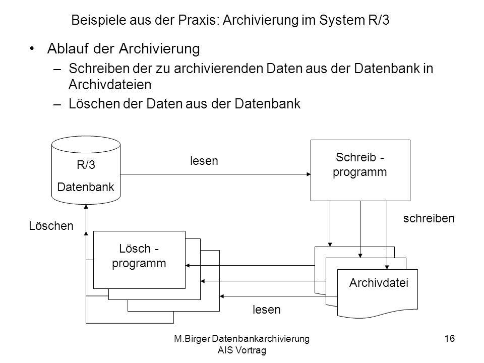 M.Birger Datenbankarchivierung AIS Vortrag 16 Ablauf der Archivierung –Schreiben der zu archivierenden Daten aus der Datenbank in Archivdateien –Lösch