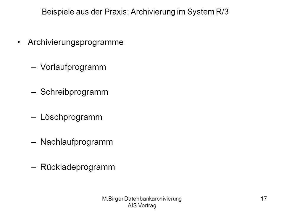 M.Birger Datenbankarchivierung AIS Vortrag 17 Archivierungsprogramme –Vorlaufprogramm –Schreibprogramm –Löschprogramm –Nachlaufprogramm –Rückladeprogr