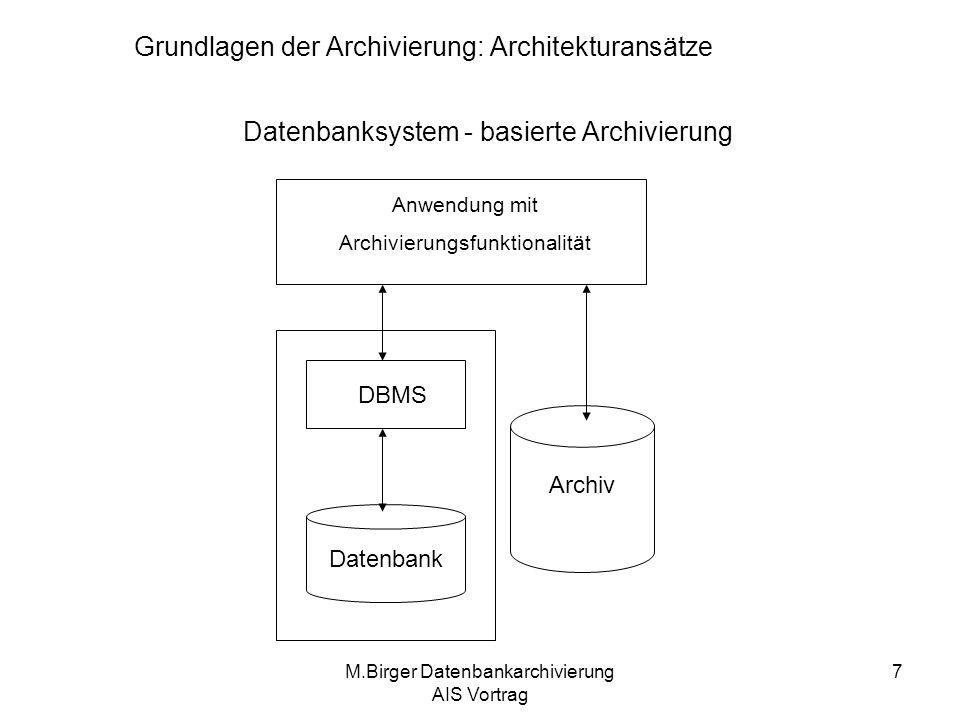 M.Birger Datenbankarchivierung AIS Vortrag 8 Datenbanksystem - basierte Archivierung Das Archiv ist kein Bestandteil des Datenbanksystems Vorteile: –Einfache Realisierbarkeit –Erweiterungen durch Nutzer möglich –Hohe Flexibilität –In der Praxis: bis jetzt einzige Möglichkeit, Archivierungsfunktionalität umzusetzen, wenn ein Datenbanksystem zur Datenhaltung eingesetzt wird Nachteile: –Daten verlassen das Datenbanksystem –Archivdaten bedürfen eine eigen Verwaltung –Die Sicherung der Integrität von Archiven muss von Archivierungsanwendung gewährleistet werden –Die Daten müssen zuerst explizit gelagert werden Grundlagen der Archivierung: Architekturansätze