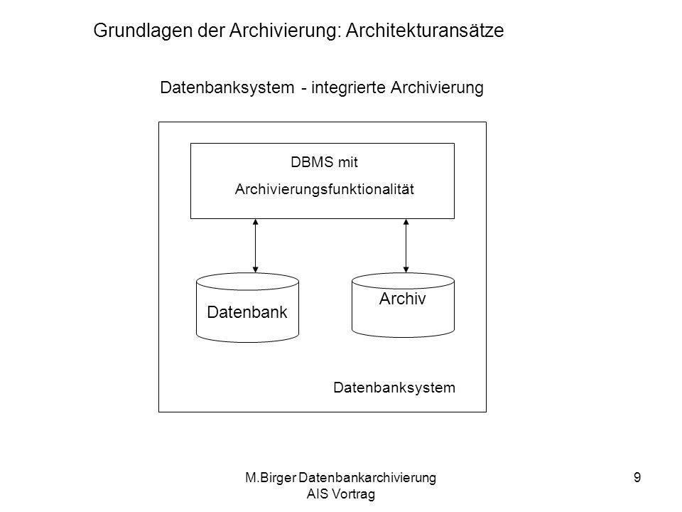 M.Birger Datenbankarchivierung AIS Vortrag 10 Datenbanksystem - integrierte Archivierung Archivierung als Datenbanksystemdienst Vorteile: –Eine einfache Handhabung (durch erweiterte Benutzerschnittstelle) –Logik in Anwendungsprogrammen überflüssig –Archiv Operationen können direkt auf Archiv arbeiten –Der Administrationsaufwand für ein Archiv ist vergleichbar mit dem einer Datenbank Nachteile: –Dieser Dienst kann nicht alle spezifische Anforderungen bestimmter Anwendungsszenarien erfüllen –Die Daten werden die das Datenbanksystem nicht verlassen Grundlagen der Archivierung: Architekturansätze