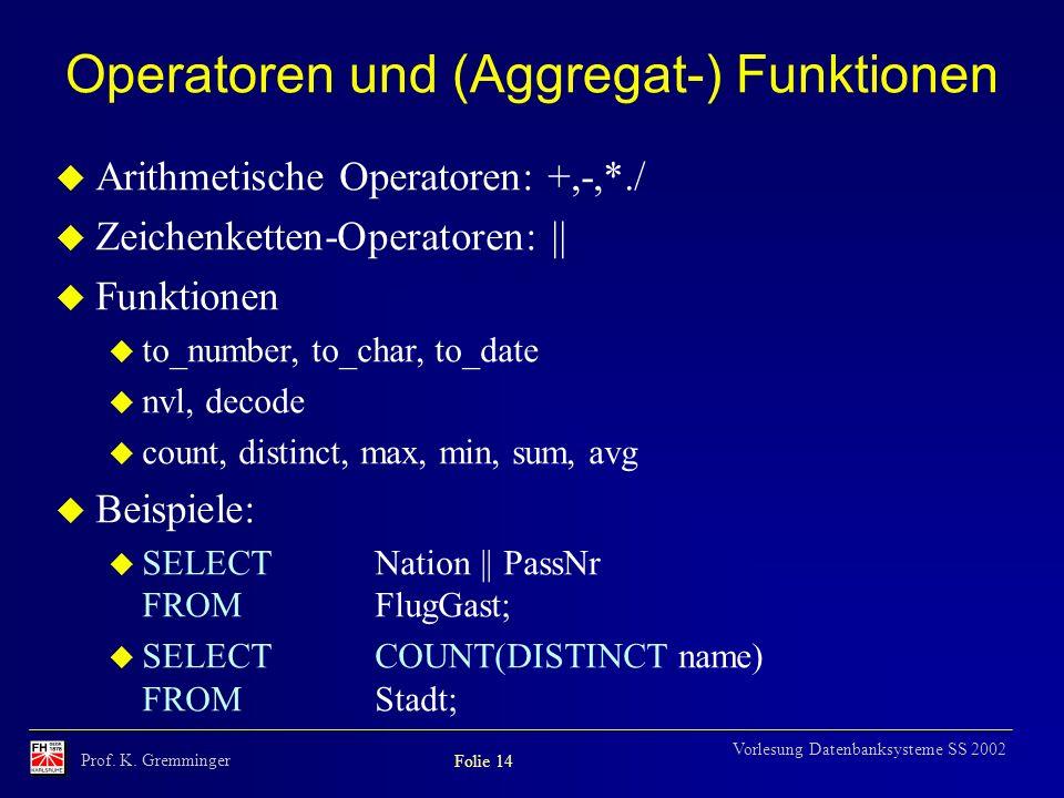 Prof. K. Gremminger Folie 14 Vorlesung Datenbanksysteme SS 2002 Operatoren und (Aggregat-) Funktionen u Arithmetische Operatoren: +,-,*./ u Zeichenket