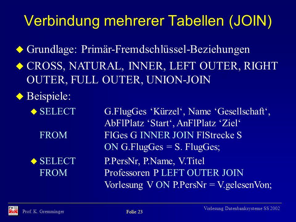 Prof. K. Gremminger Folie 23 Vorlesung Datenbanksysteme SS 2002 Verbindung mehrerer Tabellen (JOIN) u Grundlage: Primär-Fremdschlüssel-Beziehungen u C