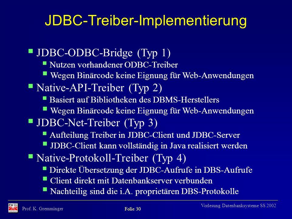 Prof. K. Gremminger Folie 30 Vorlesung Datenbanksysteme SS 2002 JDBC-Treiber-Implementierung JDBC-ODBC-Bridge (Typ 1) Nutzen vorhandener ODBC-Treiber