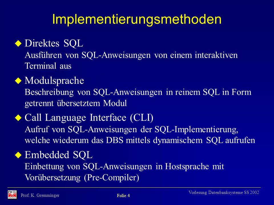 Prof. K. Gremminger Folie 4 Vorlesung Datenbanksysteme SS 2002 Implementierungsmethoden u Direktes SQL Ausführen von SQL-Anweisungen von einem interak
