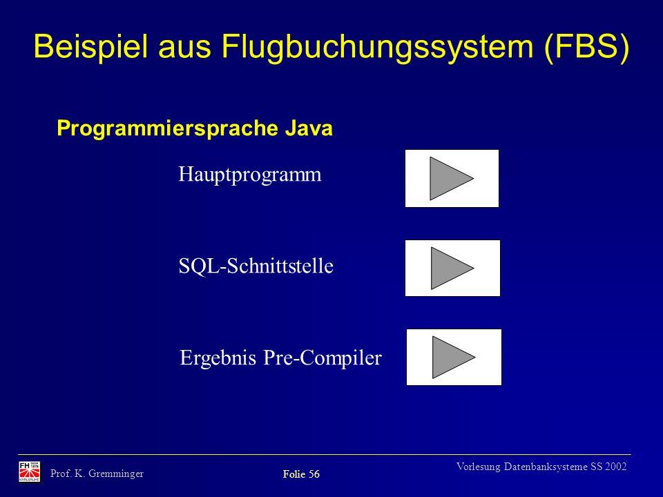 Prof. K. Gremminger Folie 56 Vorlesung Datenbanksysteme SS 2002 Beispiel aus Flugbuchungssystem (FBS) Hauptprogramm SQL-Schnittstelle Ergebnis Pre-Com
