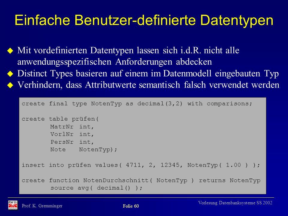 Prof. K. Gremminger Folie 60 Vorlesung Datenbanksysteme SS 2002 Einfache Benutzer-definierte Datentypen u Mit vordefinierten Datentypen lassen sich i.