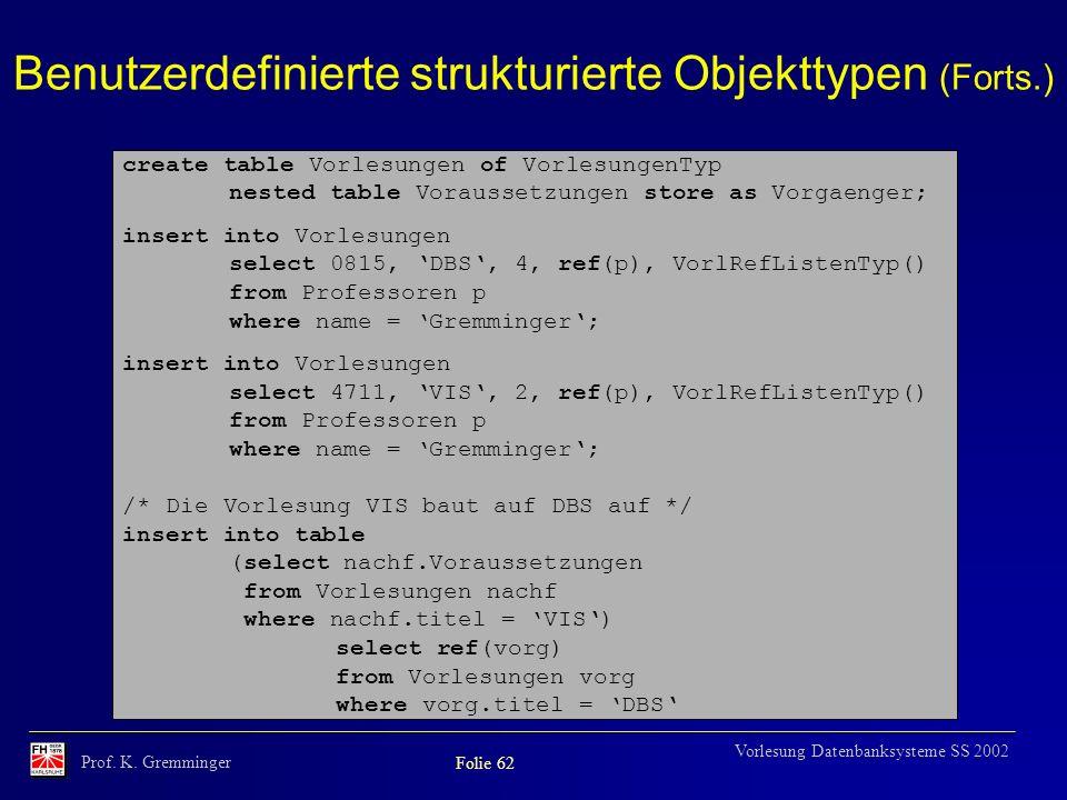 Prof. K. Gremminger Folie 62 Vorlesung Datenbanksysteme SS 2002 Benutzerdefinierte strukturierte Objekttypen (Forts.) create table Vorlesungen of Vorl