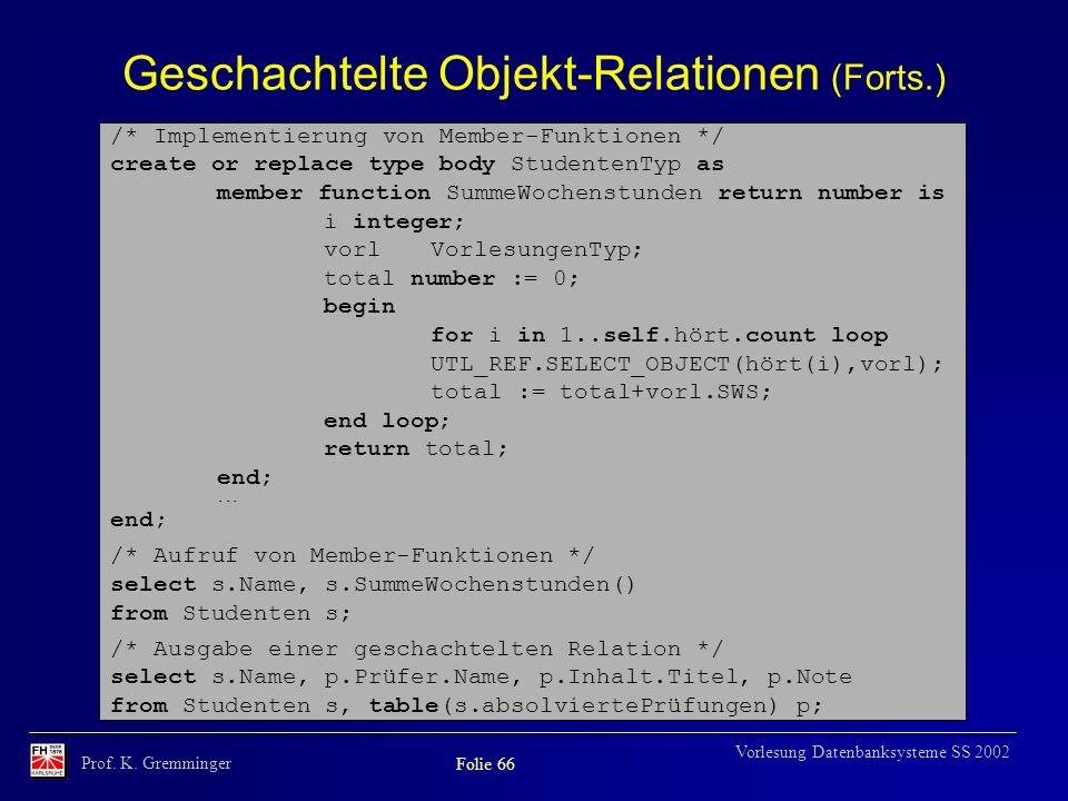 Prof. K. Gremminger Folie 66 Vorlesung Datenbanksysteme SS 2002 Geschachtelte Objekt-Relationen (Forts.) /* Implementierung von Member-Funktionen */ c
