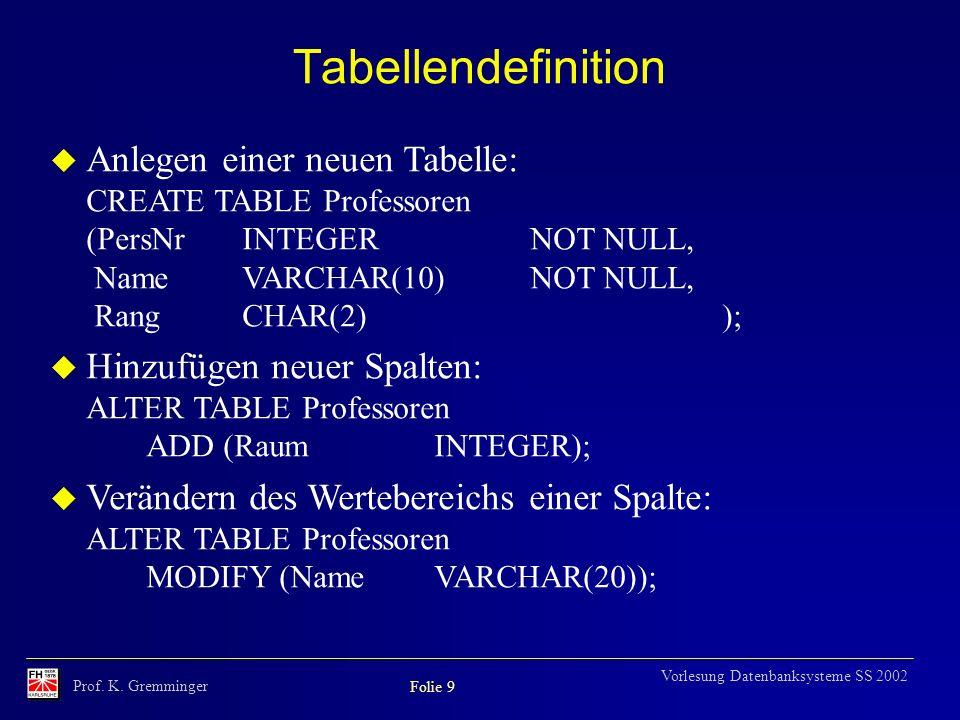 Prof. K. Gremminger Folie 9 Vorlesung Datenbanksysteme SS 2002 Tabellendefinition u Anlegen einer neuen Tabelle: CREATE TABLE Professoren (PersNrINTEG