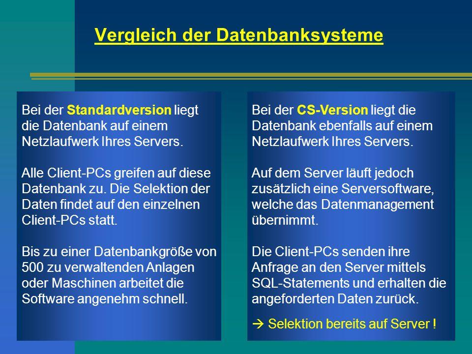 Bei der Standardversion liegt die Datenbank auf einem Netzlaufwerk Ihres Servers. Alle Client-PCs greifen auf diese Datenbank zu. Die Selektion der Da