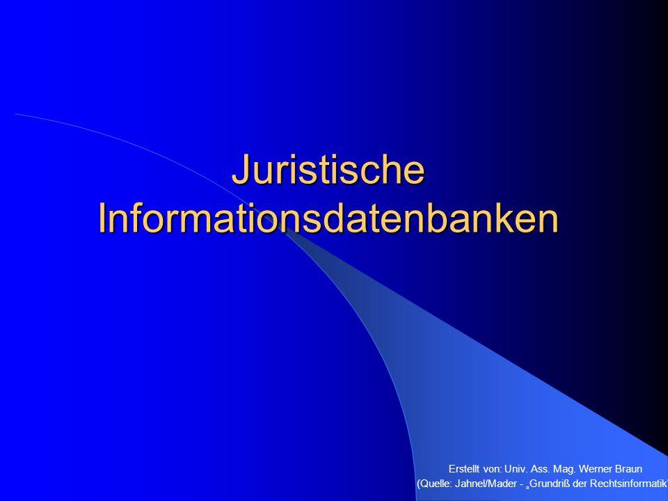 Spezielle Rechtsdatenbanken Enthalten nur Daten zu ganz bestimmten Rechtsgebieten OGH-compact VwGH & VfGH-compact Steuerrecht-compact Steuer-Index ÖJZ-Leitsatzkartei Kollektivverträge SOZDOK Deutsche Spezialdatenbanken Rechtshistorische Datenbanken
