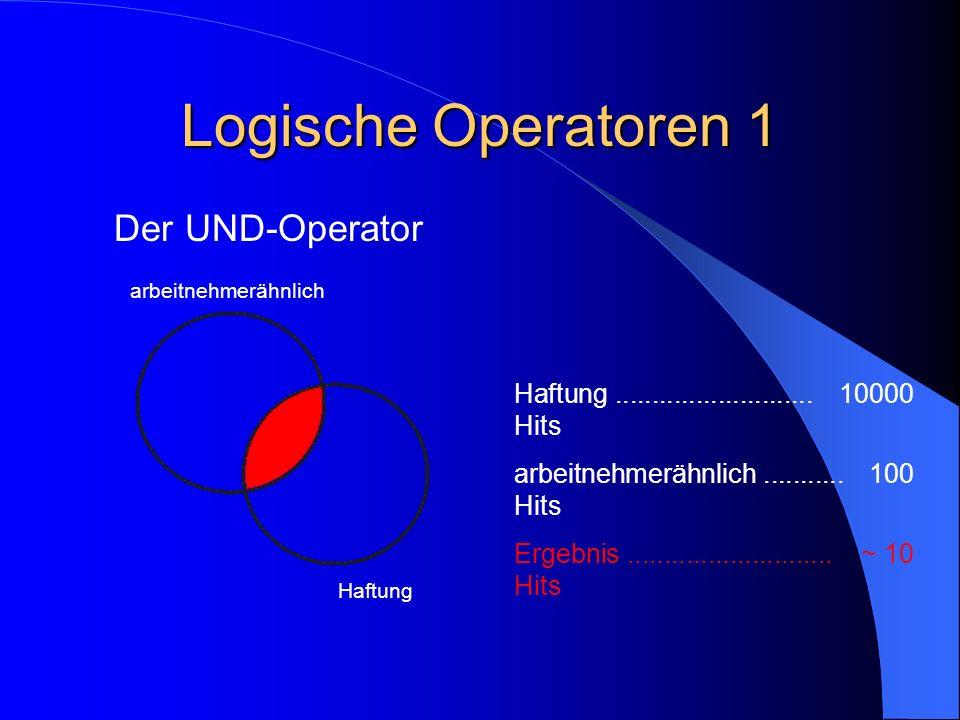 Logische Operatoren 1 Der UND-Operator arbeitnehmerähnlich Haftung Haftung........................... 10000 Hits arbeitnehmerähnlich...........100 Hit