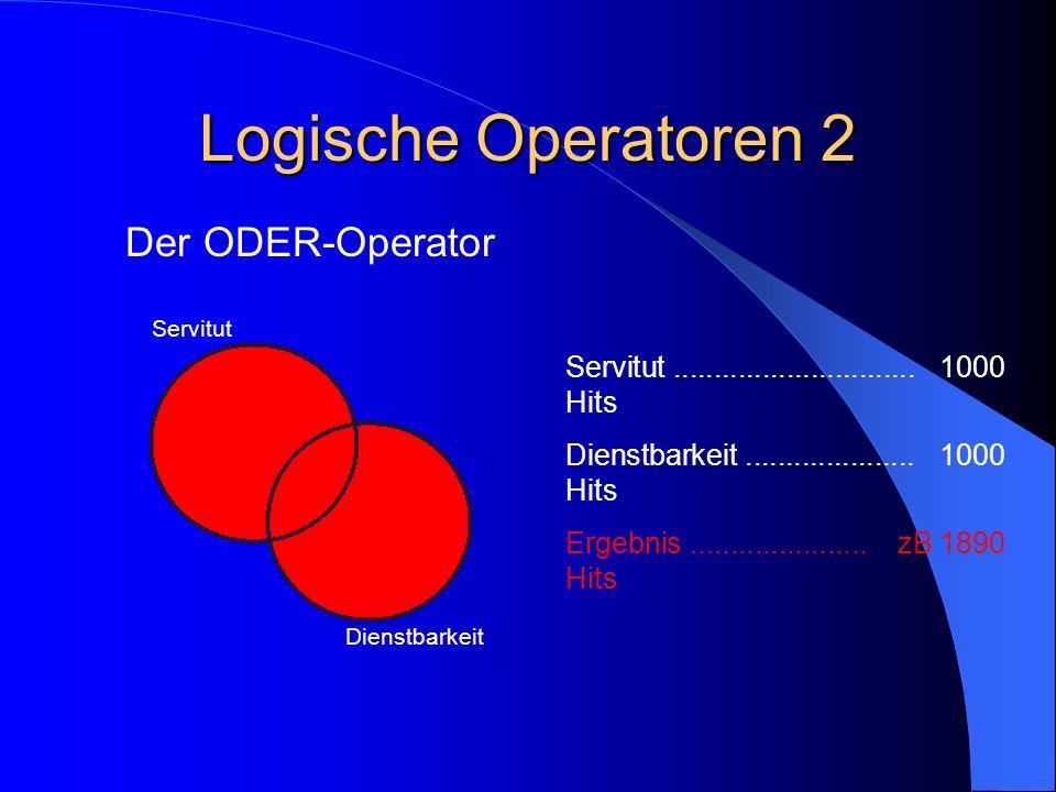 Logische Operatoren 2 Der ODER-Operator Servitut Dienstbarkeit Servitut..............................1000 Hits Dienstbarkeit.....................1000