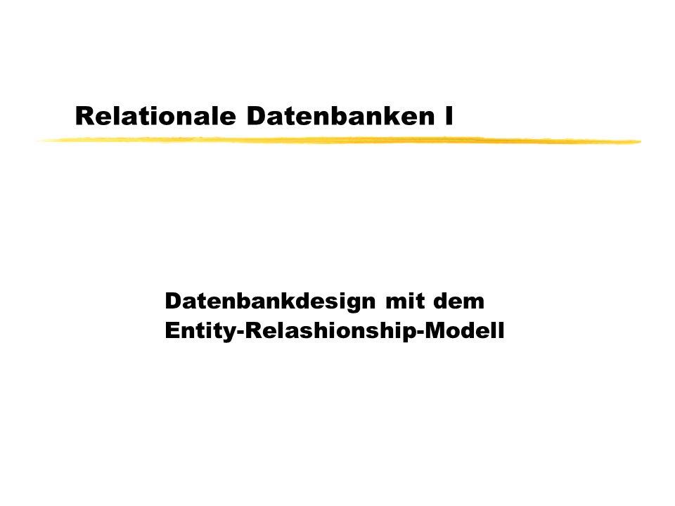 Entity/Relationship-Modellierung Entity (Gegenstandstyp) Relationship (Beziehungstyp) Attribut (Eigenschaft) Schlüssel (Identifikation) Rolle Studenten hören MatrNr Name Hörer