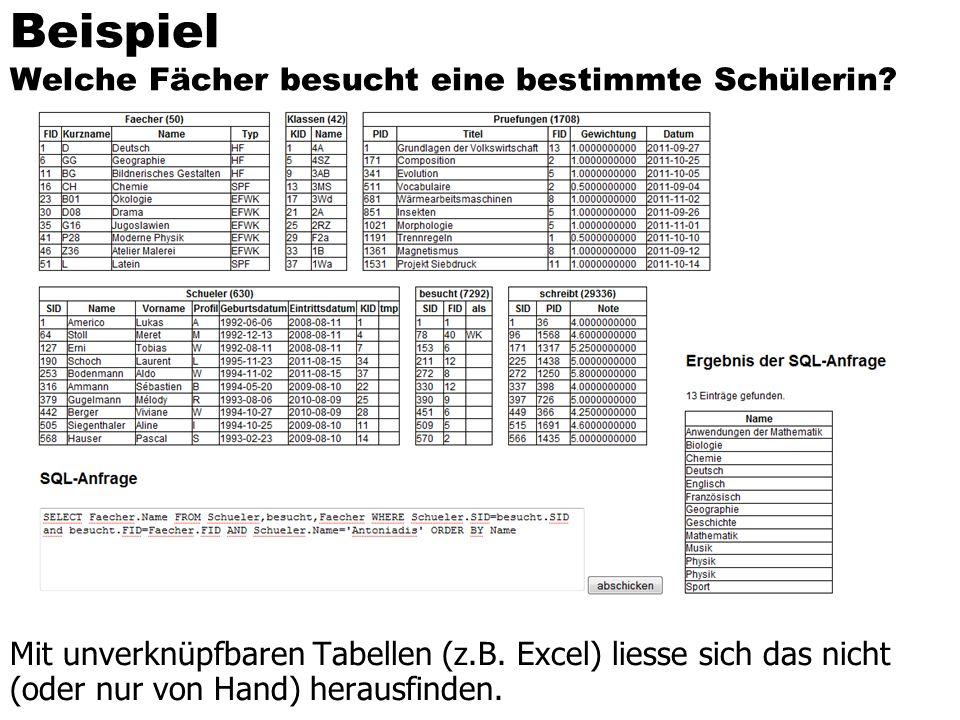 Beispiel Welche Fächer besucht eine bestimmte Schülerin? Mit unverknüpfbaren Tabellen (z.B. Excel) liesse sich das nicht (oder nur von Hand) herausfin