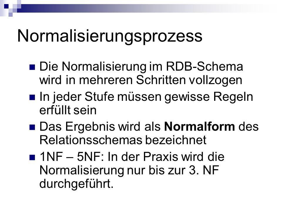 Normalisierungsprozess Die Normalisierung im RDB-Schema wird in mehreren Schritten vollzogen In jeder Stufe müssen gewisse Regeln erfüllt sein Das Erg