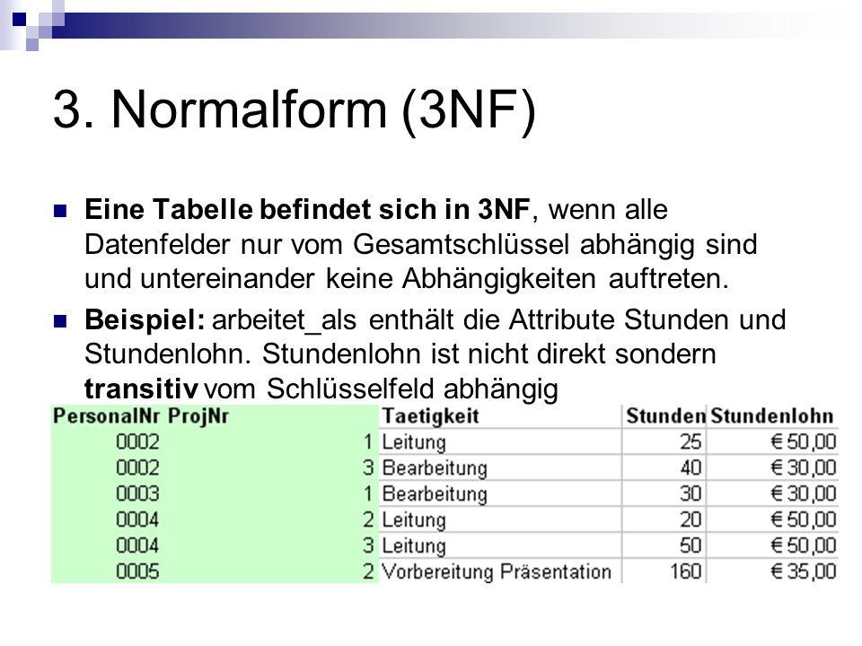 3. Normalform (3NF) Eine Tabelle befindet sich in 3NF, wenn alle Datenfelder nur vom Gesamtschlüssel abhängig sind und untereinander keine Abhängigkei