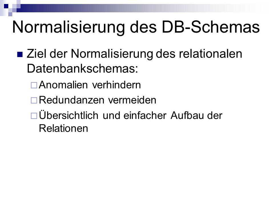 Normalisierung des DB-Schemas Ziel der Normalisierung des relationalen Datenbankschemas: Anomalien verhindern Redundanzen vermeiden Übersichtlich und