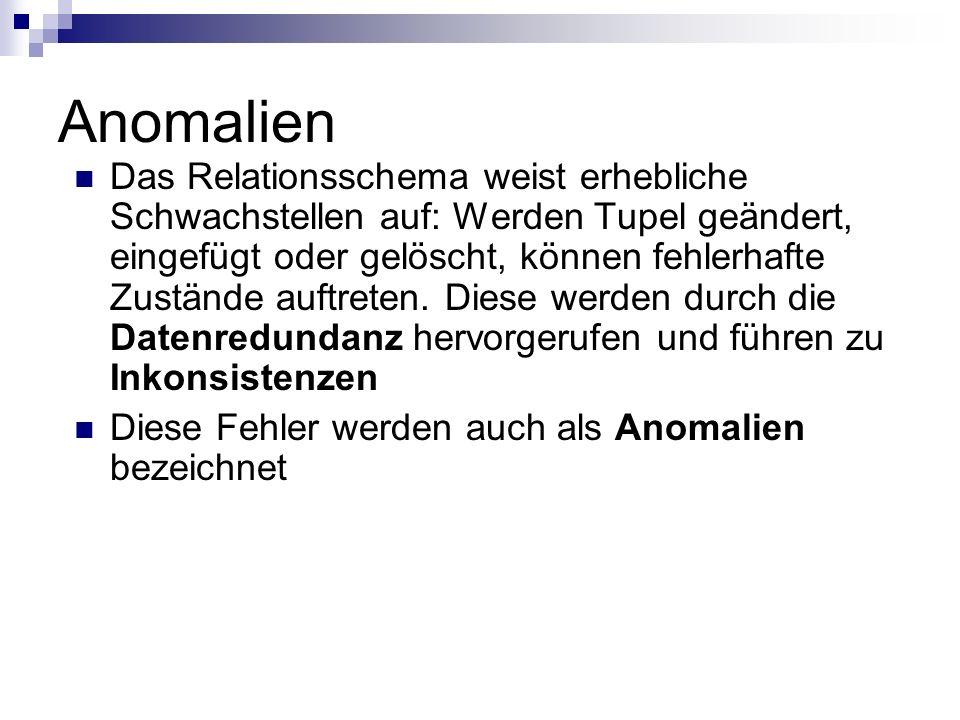 Anomalien Einfüge-Anomalie: neue Mitarbeiter erzeugen leere Datenfelder, da noch kein Projekt vorhanden ist.