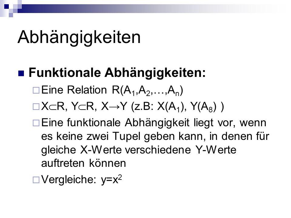 Abhängigkeiten Funktionale Abhängigkeiten: Eine Relation R(A 1,A 2,…,A n ) X R, Y R, XY (z.B: X(A 1 ), Y(A 8 ) ) Eine funktionale Abhängigkeit liegt v