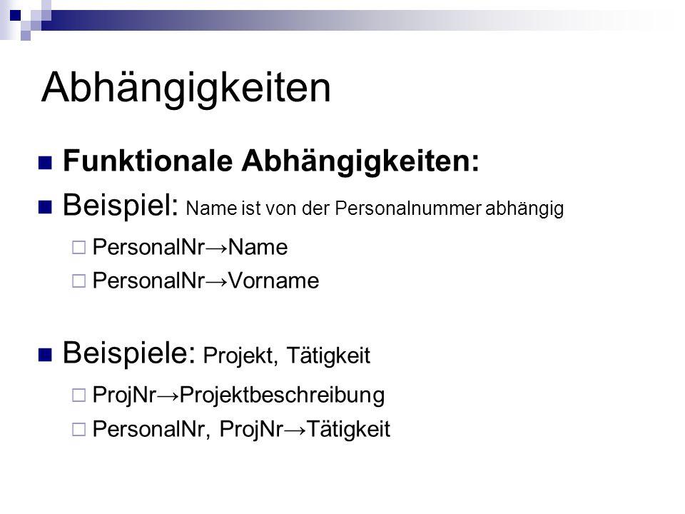 Abhängigkeiten Funktionale Abhängigkeiten: Beispiel: Name ist von der Personalnummer abhängig PersonalNrName PersonalNrVorname Beispiele: Projekt, Tät
