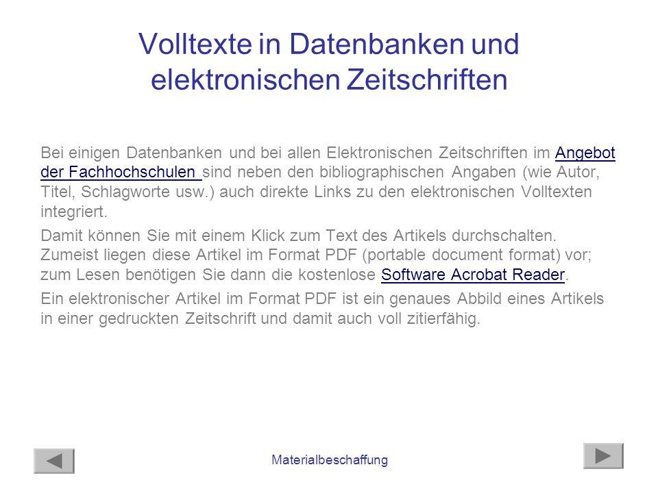 Materialbeschaffung Beispiel Datenbank: ABI Inform Den Volltext eines Artikels in der Datenbank ABI Inform erhalten Sie entweder mit Text und Grafiken oder im Format PDF, oder Sie können sich nur das Abstract anschauen, ausdrucken oder an Ihre E-Mail-Adresse senden.ABI Inform