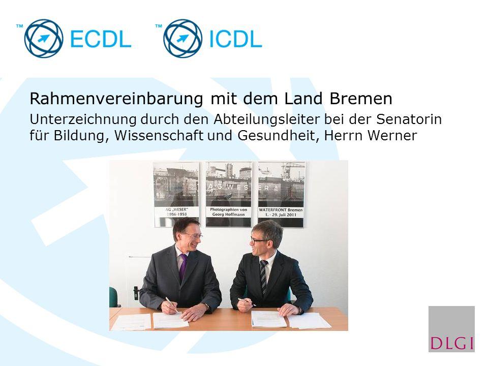 Rahmenvereinbarung mit dem Land Bremen Unterzeichnung durch den Abteilungsleiter bei der Senatorin für Bildung, Wissenschaft und Gesundheit, Herrn Werner