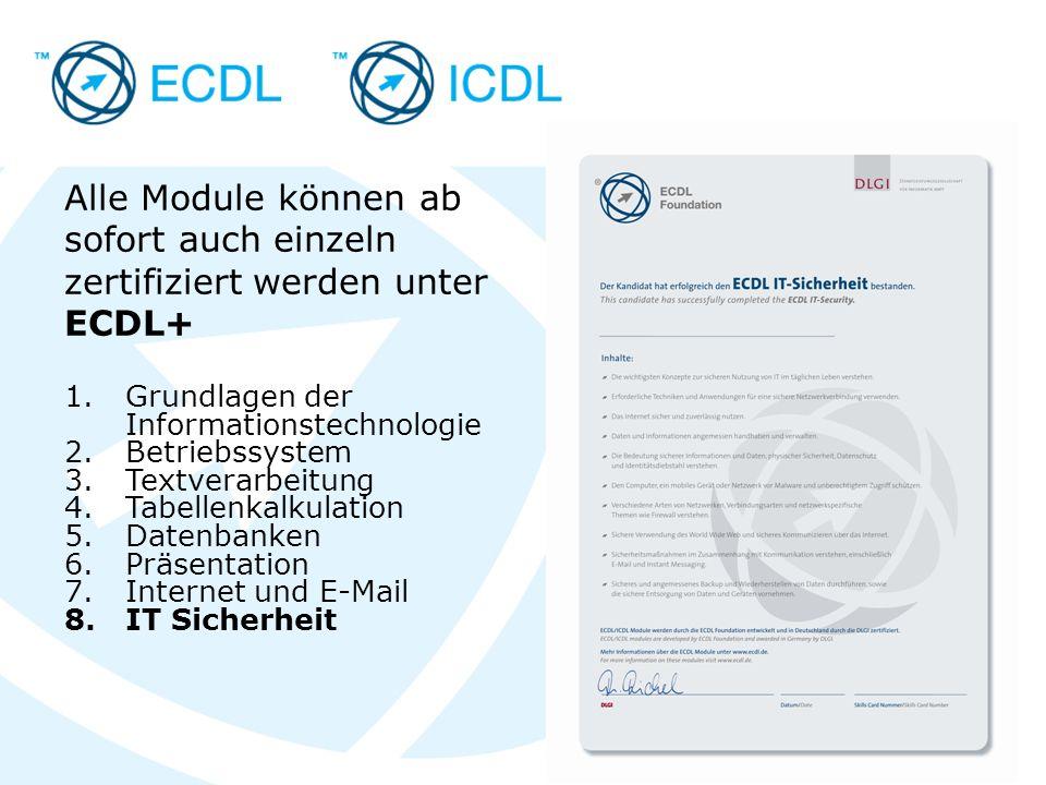 Placeholder for licensee logo Alle Module können ab sofort auch einzeln zertifiziert werden unter ECDL+ 1.Grundlagen der Informationstechnologie 2.Betriebssystem 3.Textverarbeitung 4.Tabellenkalkulation 5.Datenbanken 6.Präsentation 7.Internet und E-Mail 8.IT Sicherheit