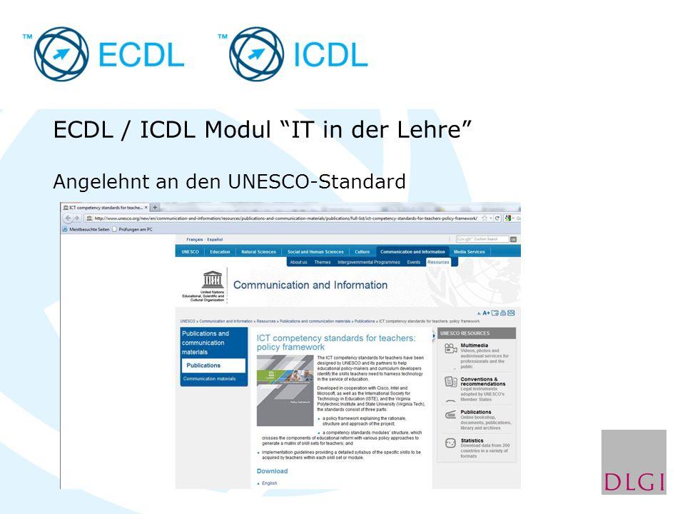 ECDL / ICDL Modul IT in der Lehre Angelehnt an den UNESCO-Standard
