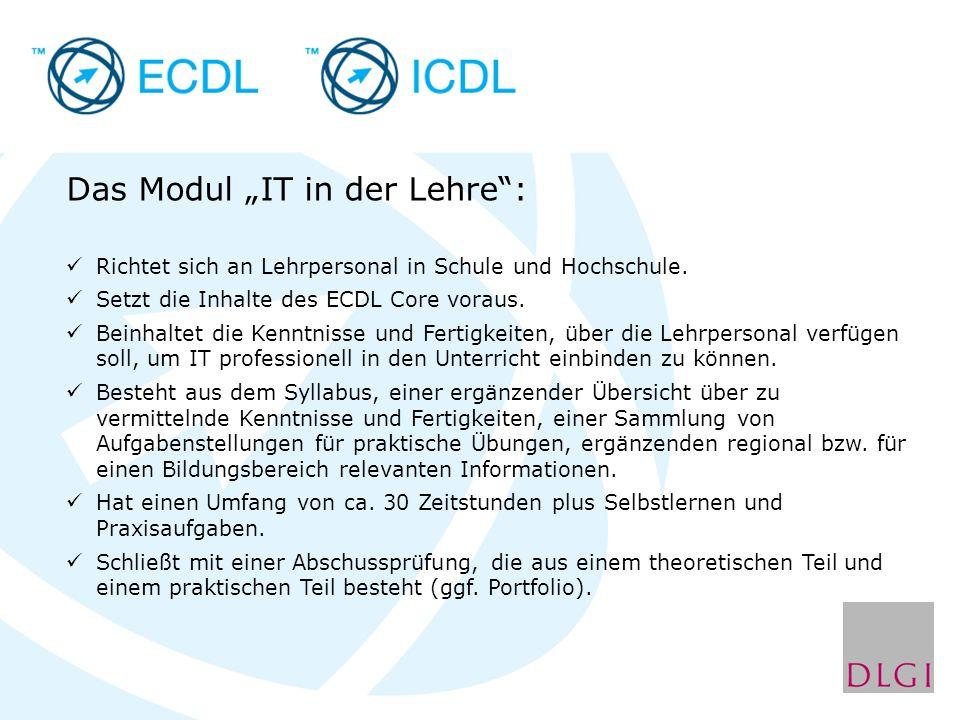Das Modul IT in der Lehre: Richtet sich an Lehrpersonal in Schule und Hochschule.