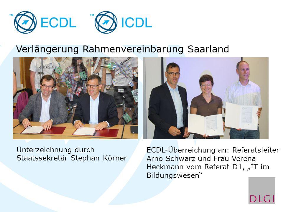 Verlängerung Rahmenvereinbarung Saarland Unterzeichnung durch Staatssekretär Stephan Körner ECDL-Überreichung an: Referatsleiter Arno Schwarz und Frau Verena Heckmann vom Referat D1, IT im Bildungswesen