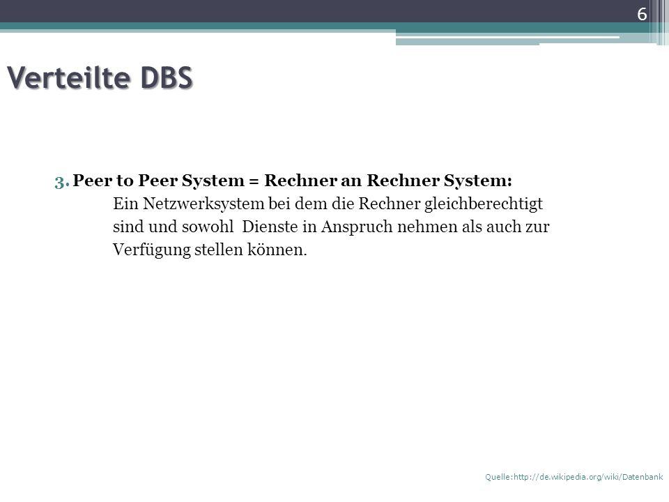 Verteilte DBS 3.Peer to Peer System = Rechner an Rechner System: Ein Netzwerksystem bei dem die Rechner gleichberechtigt sind und sowohl Dienste in Anspruch nehmen als auch zur Verfügung stellen können.