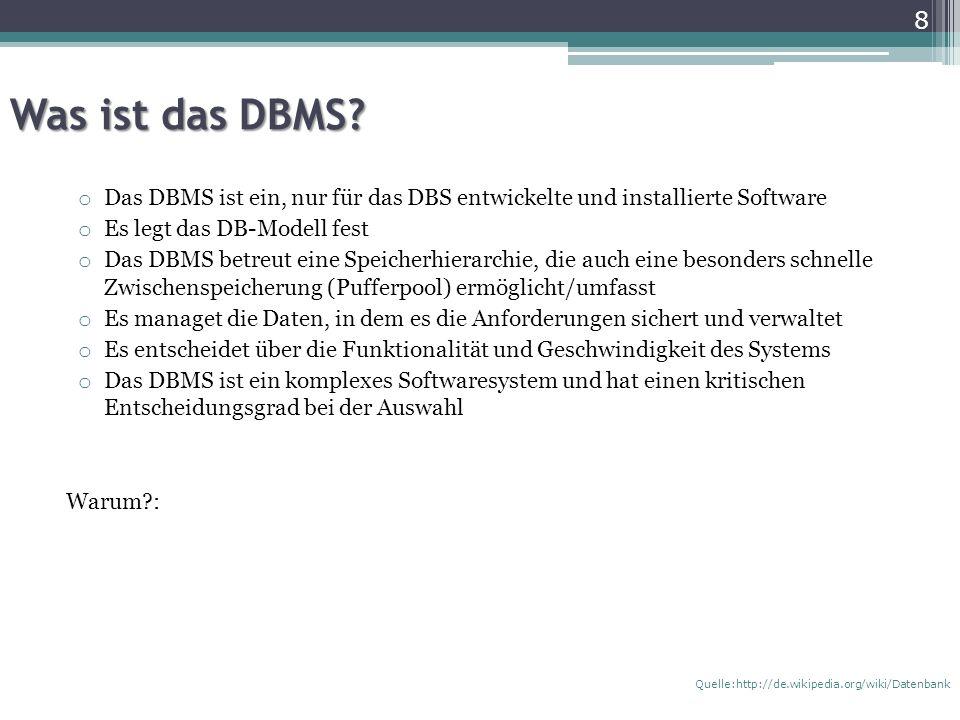 Sprachen o DBS stellt Sprachen für folgende Zwecke zur Verfügung: Datenabfrage und Manipulation DML Verwaltung der DB und Definition der Datenstruktur DDL Berechtigungssteuer (DCL) Bei relationalen DBMS sind die o.g.