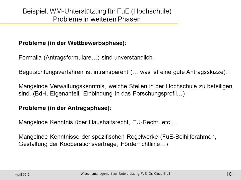April 2010 Wissensmanagement zur Unterstützung FuE, Dr. Claus Brell 10 Beispiel: WM-Unterstützung für FuE (Hochschule) Probleme in weiteren Phasen Pro