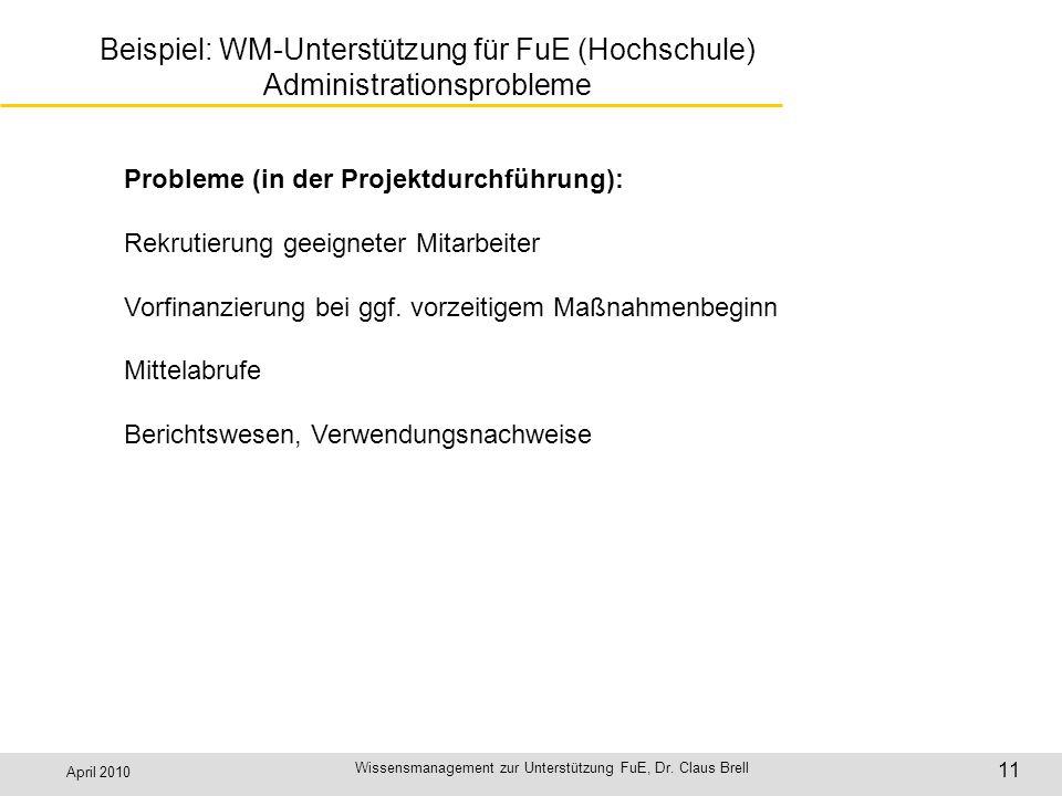 April 2010 Wissensmanagement zur Unterstützung FuE, Dr. Claus Brell 11 Beispiel: WM-Unterstützung für FuE (Hochschule) Administrationsprobleme Problem