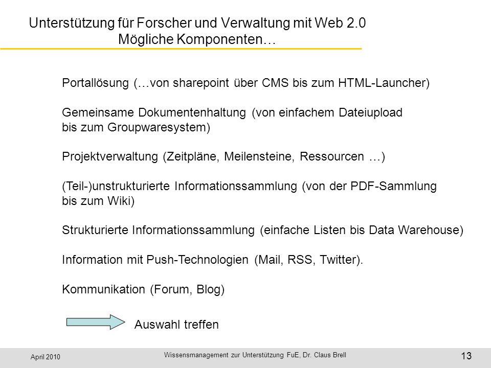 April 2010 Wissensmanagement zur Unterstützung FuE, Dr. Claus Brell 13 Unterstützung für Forscher und Verwaltung mit Web 2.0 Mögliche Komponenten… Por