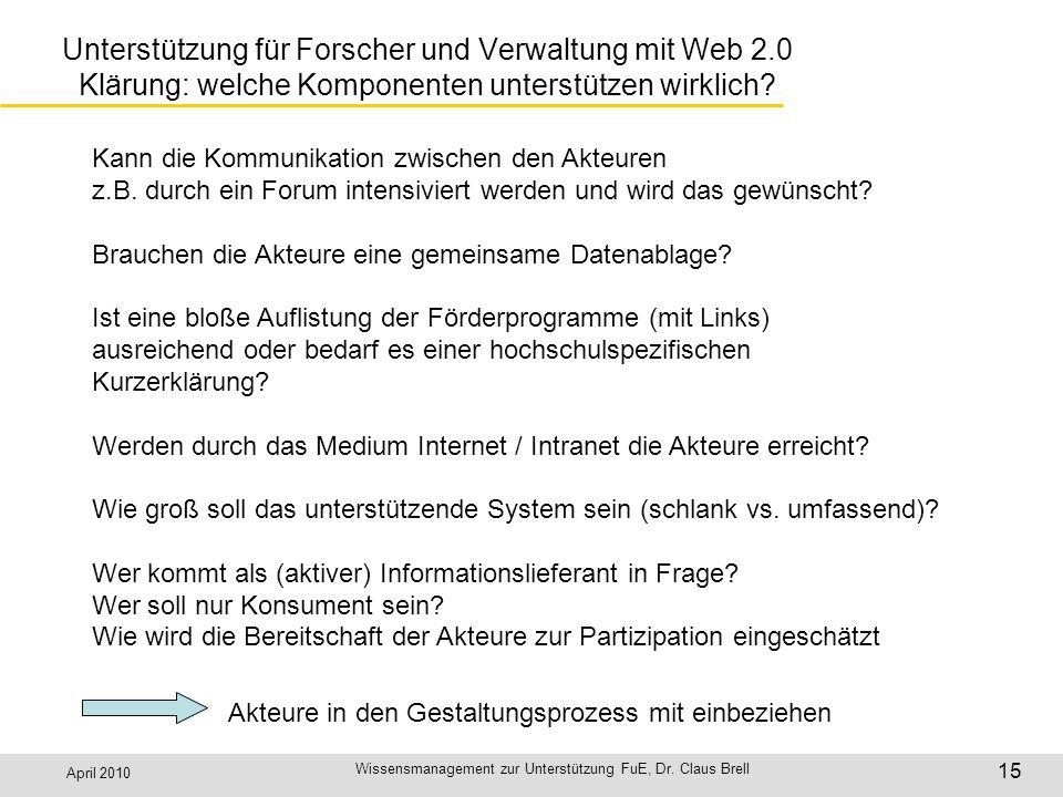 April 2010 Wissensmanagement zur Unterstützung FuE, Dr. Claus Brell 15 Unterstützung für Forscher und Verwaltung mit Web 2.0 Klärung: welche Komponent