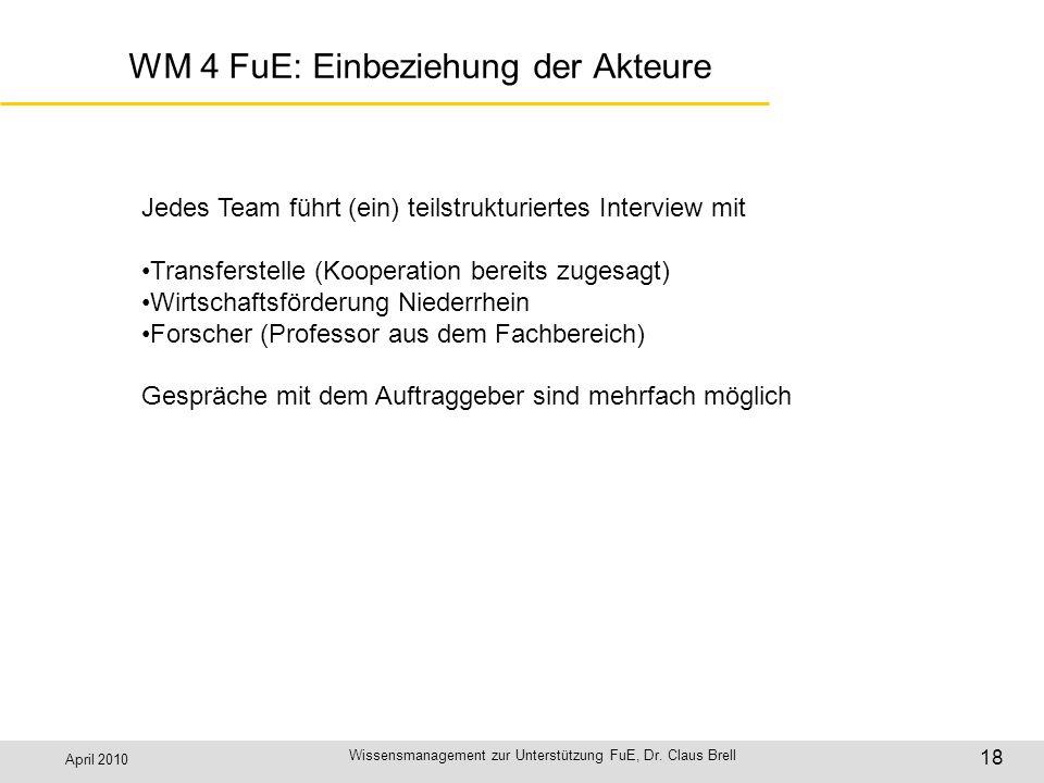 April 2010 Wissensmanagement zur Unterstützung FuE, Dr. Claus Brell 18 WM 4 FuE: Einbeziehung der Akteure Jedes Team führt (ein) teilstrukturiertes In