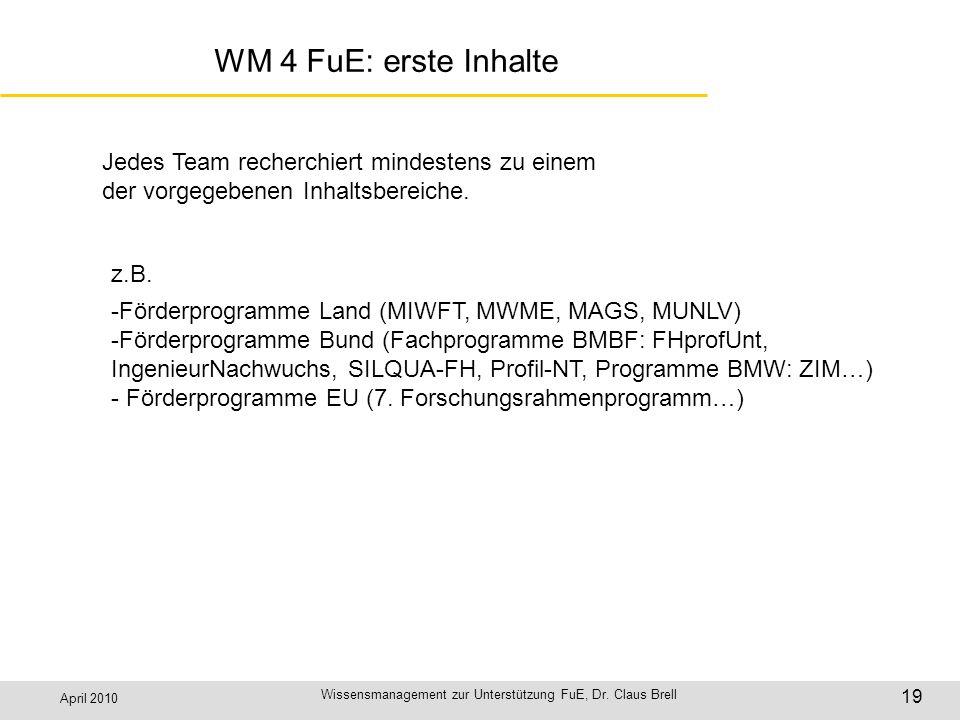 April 2010 Wissensmanagement zur Unterstützung FuE, Dr. Claus Brell 19 WM 4 FuE: erste Inhalte Jedes Team recherchiert mindestens zu einem der vorgege