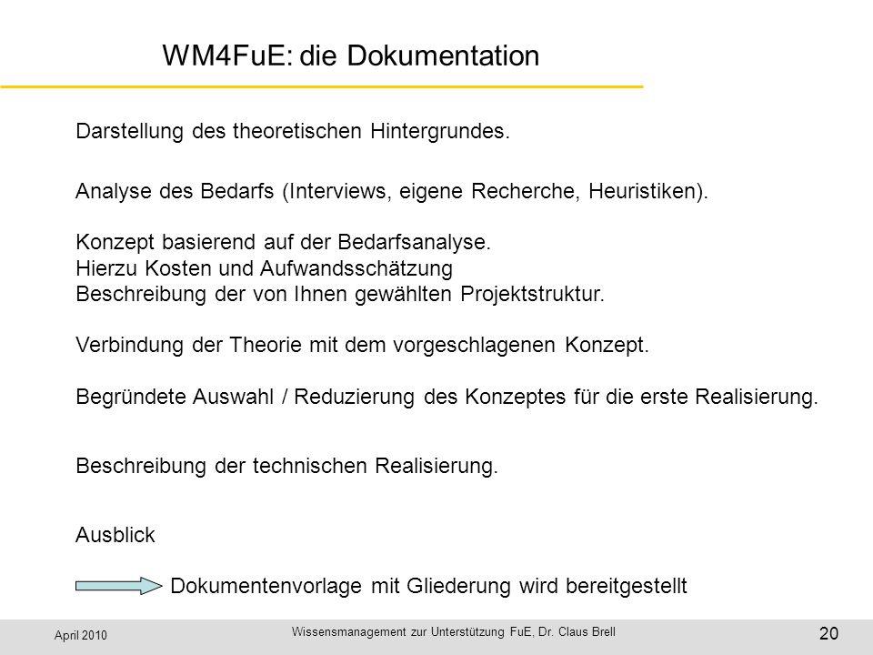 April 2010 Wissensmanagement zur Unterstützung FuE, Dr. Claus Brell 20 WM4FuE: die Dokumentation Darstellung des theoretischen Hintergrundes. Analyse