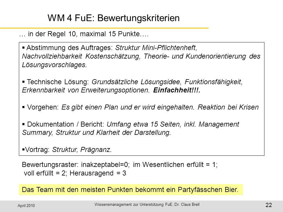 April 2010 Wissensmanagement zur Unterstützung FuE, Dr. Claus Brell 22 WM 4 FuE: Bewertungskriterien Abstimmung des Auftrages: Struktur Mini-Pflichten