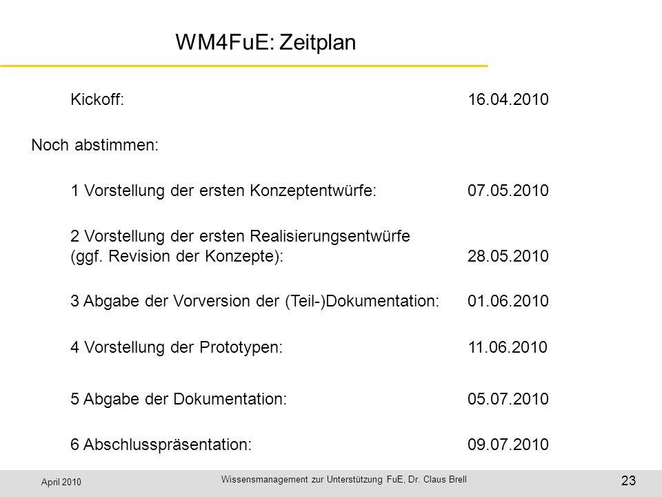 April 2010 Wissensmanagement zur Unterstützung FuE, Dr. Claus Brell 23 WM4FuE: Zeitplan Kickoff:16.04.2010 1 Vorstellung der ersten Konzeptentwürfe:07