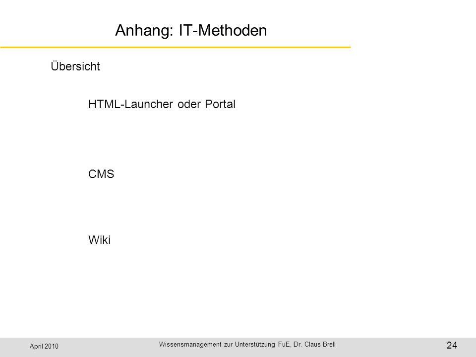 April 2010 Wissensmanagement zur Unterstützung FuE, Dr. Claus Brell 24 Anhang: IT-Methoden Übersicht HTML-Launcher oder Portal CMS Wiki