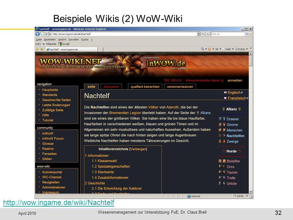 April 2010 Wissensmanagement zur Unterstützung FuE, Dr. Claus Brell 32 Beispiele Wikis (2) WoW-Wiki http://wow.ingame.de/wiki/Nachtelf